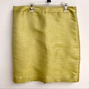 J.Crew Silk Chartreuse Textured Pencil Skirt sz 8